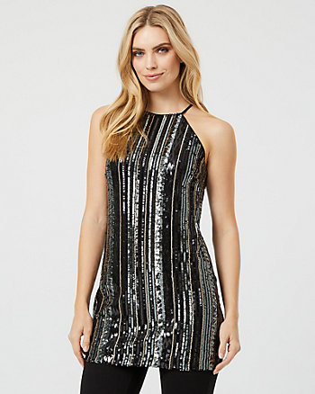 Sequin & Mesh Halter Neck Tunic Top