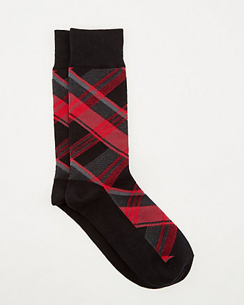 Check Print Cotton Blend Socks