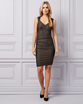 Metallic Knit Sweetheart Neck Dress