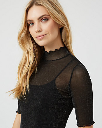 Metallic Knit Mock Neck Top