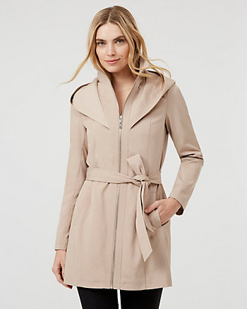 Cotton Blend Funnel Neck Coat