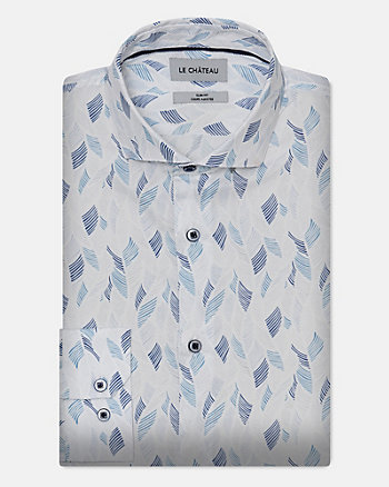 Tropical Print Stretch Cotton Poplin Shirt