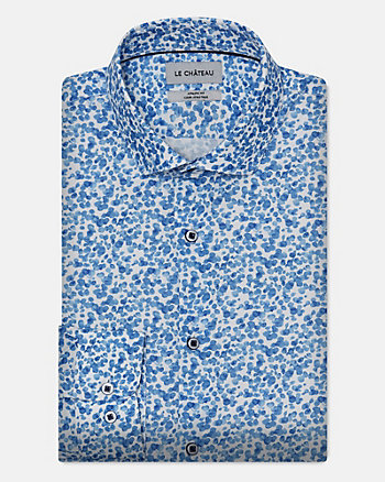 Abstract Print Stretch Cotton Poplin Shirt