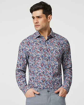 Paisley Print Stretch Cotton Poplin Shirt