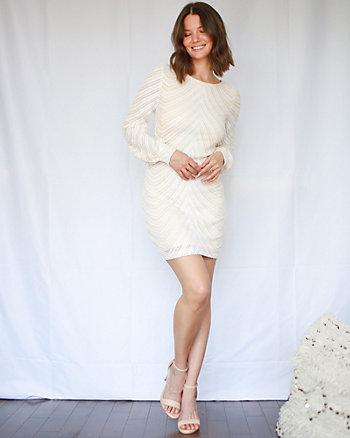 Sequin & Mesh Scoop Neck Tunic Dress