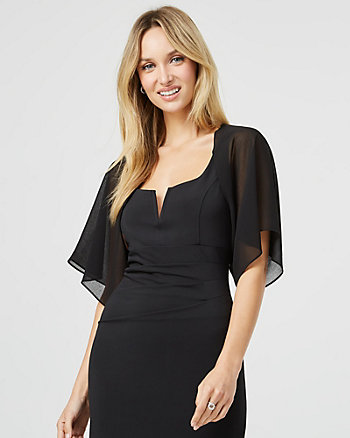 Sheer Chiffon Open-Front Shrug