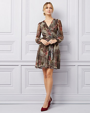 Floral Print Metallic Chiffon V-Neck Dress