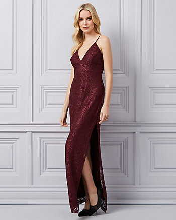 Stretch Glitter Lace V-Neck Gown