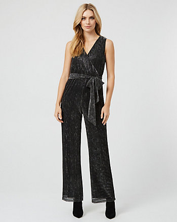 Metallic Knit Wrap-Like Wide Leg Jumpsuit