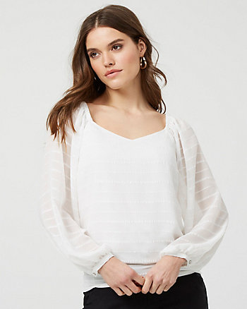 Smocked Chiffon V-Neck Blouse