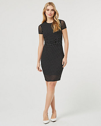 Dot Print Knit Scoop Neck Tunic Dress