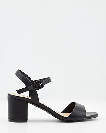 Pebbled Faux Leather Sandal
