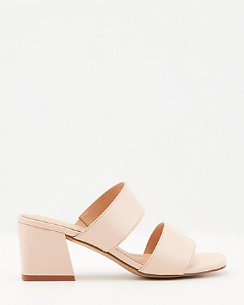 Leather Square Toe Flared Heel Slide Sandal