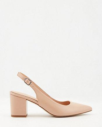 Escarpin-sandale à bout pointu en similicuir