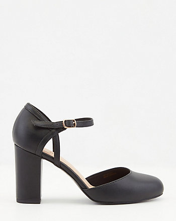 Faux Leather Round Toe Mary Jane Pump
