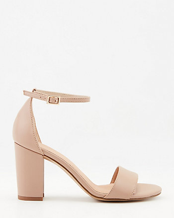 Leather Open Toe Block Heel Sandal