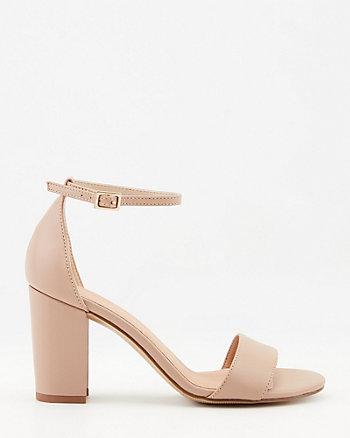 Sandale à talon bloc en cuir