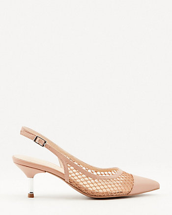 Faux Leather & Mesh Pointy Toe Pump