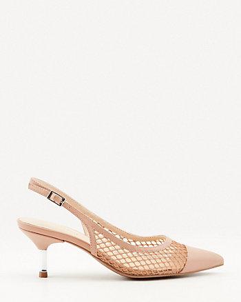 Escarpin-sandale en similicuir et maille filet