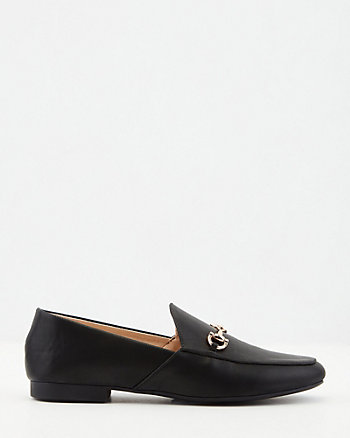 Faux Leather Almond Toe Loafer