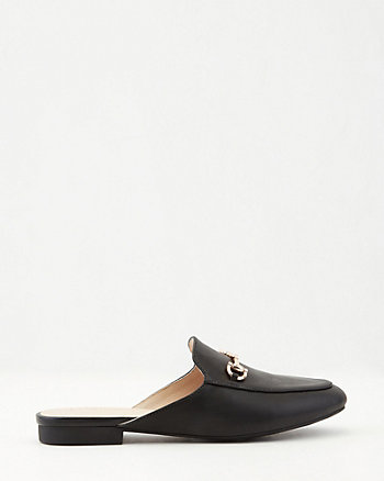 Faux Leather Almond Toe Mule Loafer