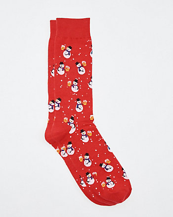 Snowman Print Cotton Blend Socks