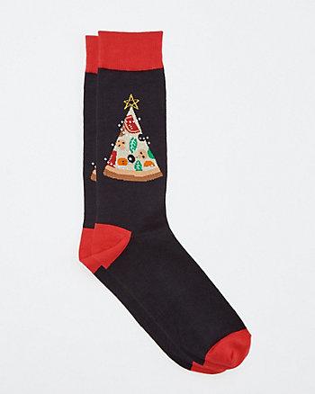 Pizza Tree Print Cotton Blend Socks