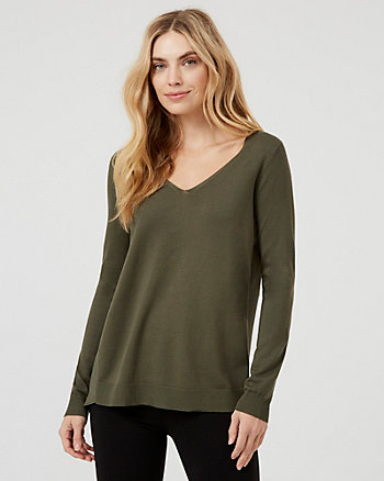 Knit V-Neck High-Low Sweater