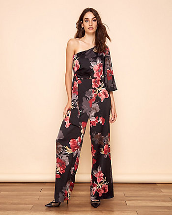 Floral Print Stretch Satin Jumpsuit