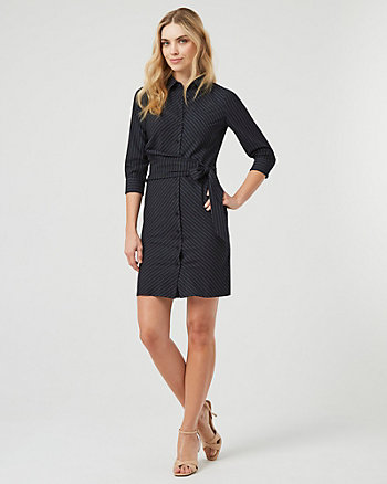 Twill Button-Front Shirtdress