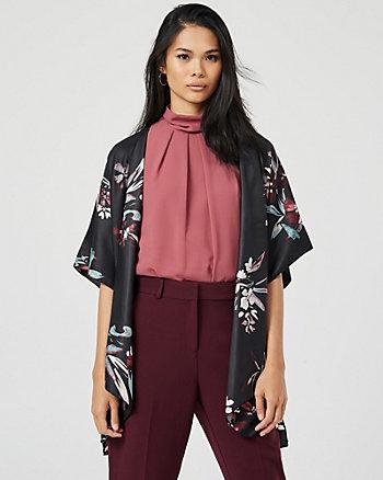 Floral Print Open-Front Kimono
