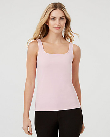 Knit Crêpe Scoop Neck Tank Top