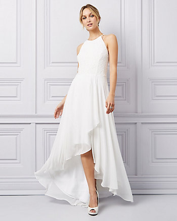 Lace & Chiffon Halter Neck High-Low Gown