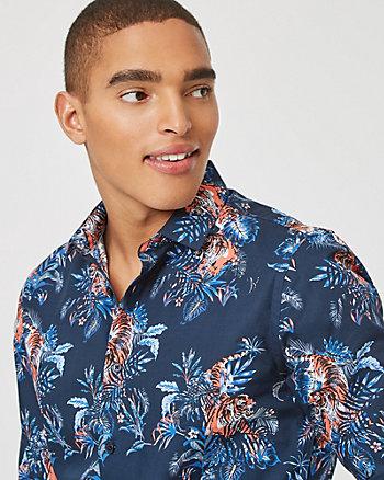 Chemise à motif de tigres en coton