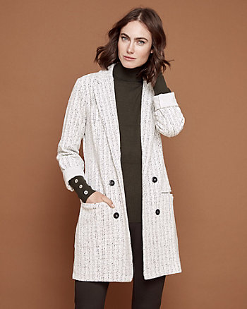 Jacquard Knit Notch Collar Blazer