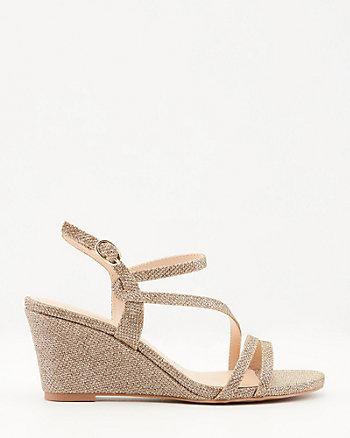 Glitter Mesh Asymmetrical Wedge Sandal