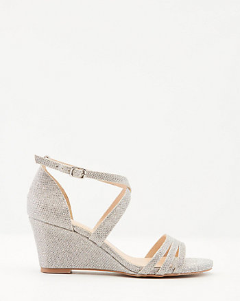 Glitter Mesh Criss-Cross Wedge Sandal