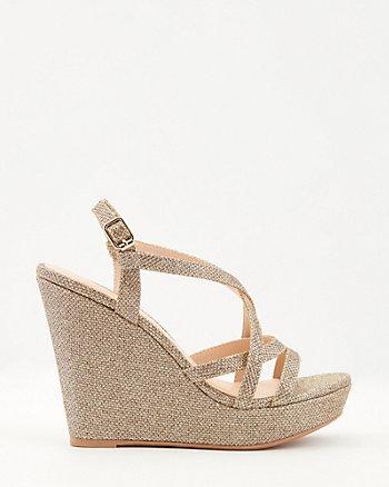 Glitter Mesh Platform Wedge Sandal