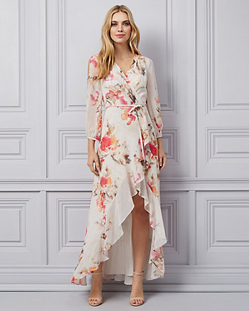 Floral Print Chiffon Wrap-Like Dress