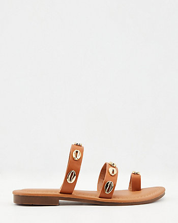 Embellished Faux Leather Slide Sandal