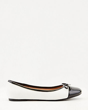 Patent Faux Leather Cap Toe Ballerina Flat