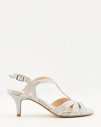 Glitter Mesh Round Toe Sandal