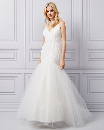 Lace & Tulle V-Neck Gown