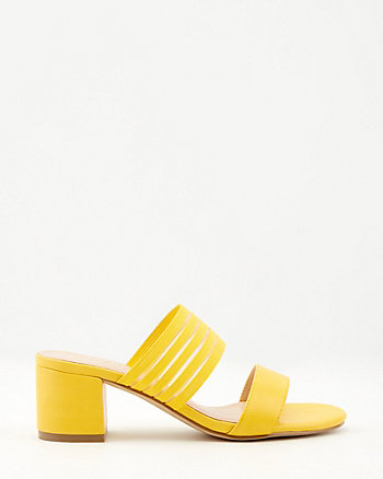 Faux Leather Open Toe Slide Sandal