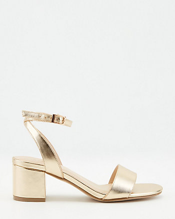 Faux Leather Open Toe Block Heel Sandal