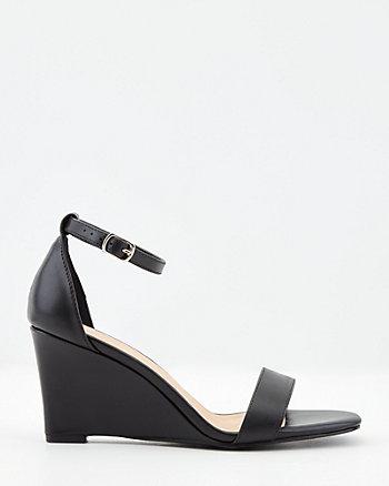 Faux Leather Square Toe Wedge Sandal