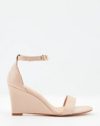 Faux Leather Square Toe Wedge Sandal