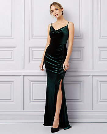 Ruched Velvet Cowl Neck Gown