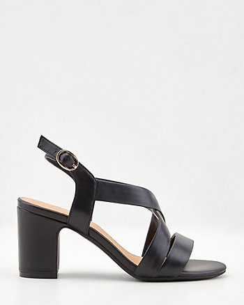 Leather Criss-Cross Block Heel Sandal