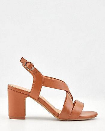 Leather Criss-Cross Block Heel Sandal